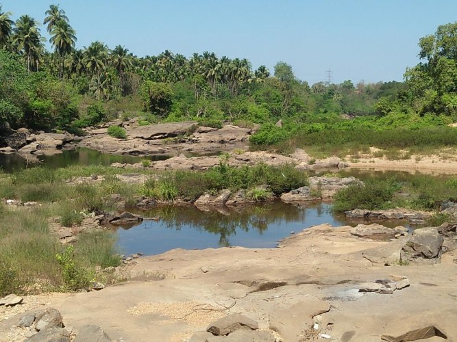 A view of the dried up Seetha river at Hebri in Udupi.