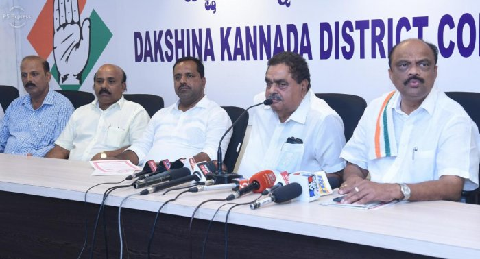 B Ramanath Rai, president of the Dakshina Kannada Lok Sabha constituency Coalition Publicity Committee, addresses reporters in Mangaluru on Wednesday.