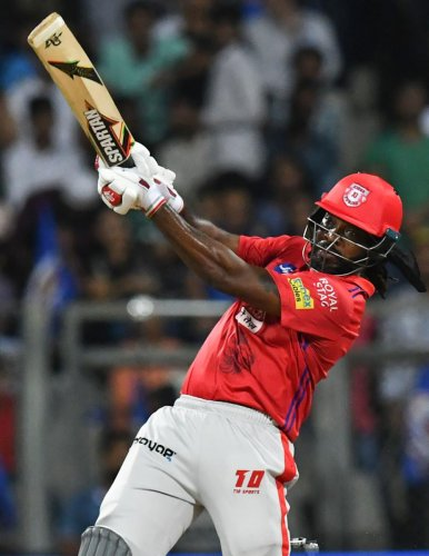 TAKE THAT!: West Indies' Chris Gayle yet again has been firing all cylinders in the Indian Premier League. AFP