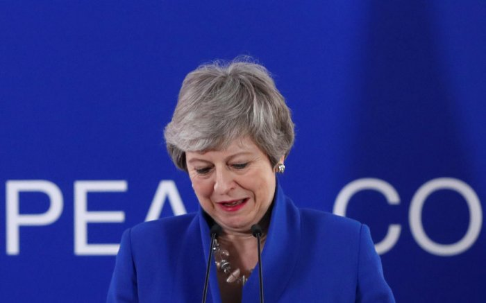 British Prime Minister Theresa May holds a news conference after an extraordinary European Union leaders summit to discuss Brexit, in Brussels, Belgium. Reuters photo