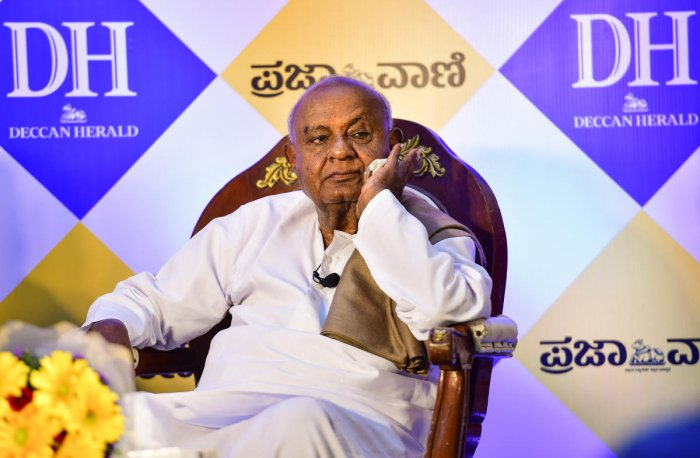 Deve Gowda said that whatever the H D Kumaraswamy-led government has delivered till date will be the report card of the coalition. Photo: Anand Bakshi