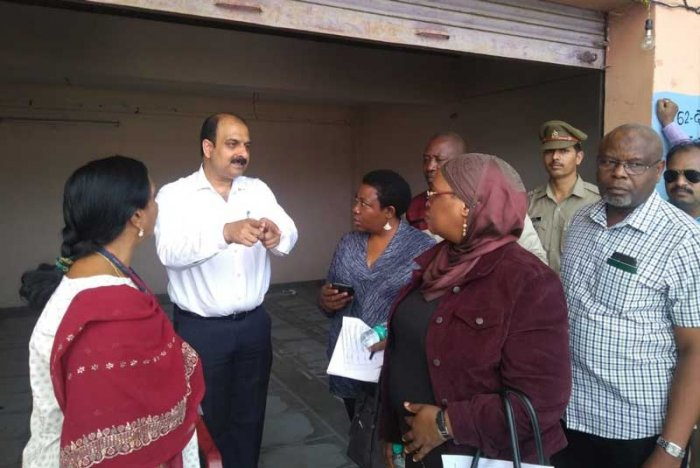 The four-member delegation visited four polling booths, including one critical, with three of them in Noida and the rest in Greater Noida, the officials said. (Image courtesy Twitter)