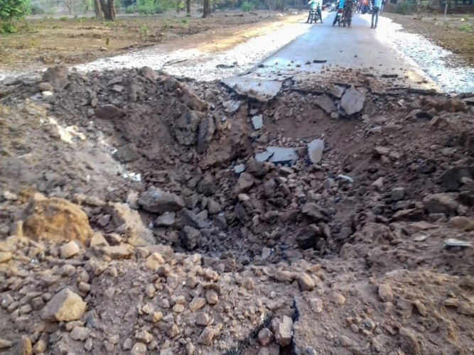 A crater is formed at a road after a BJP convoy was attacked by the Maoists in Dantewada district of Chhattisgarh on April 9, 2019. (PTI File Photo)