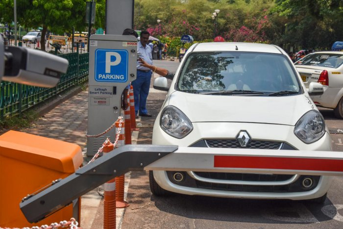 Smart Parking trail process is going on in Lalbagh on Thursday, it is operated on Monday on 15th in Bengaluru. Photo by S K Dinesh