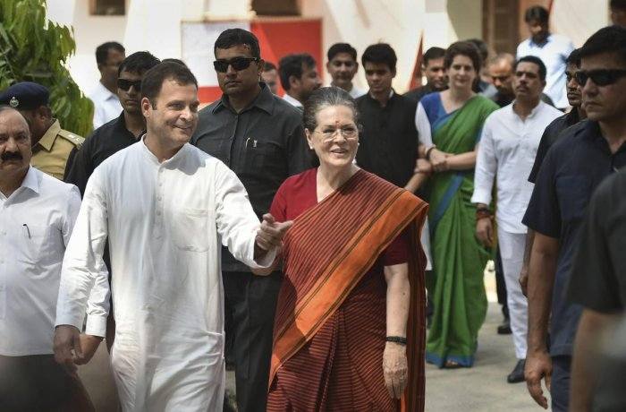 UPA chairperson Sonia Gandhi after filing her nomination papers for Raebareli Lok Sabha seat, in Raebareli on Thursday, April 11, 2019. Congress President Rahul Gandhi, party General Secretary Priyanka Gandhi Vadra are also seen. (PTI Photo)