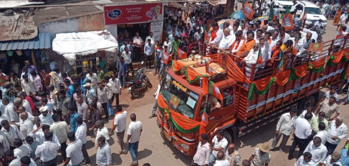BJP state president B S Yeddyurappa participates in a road show in Kadur on Thursday.
