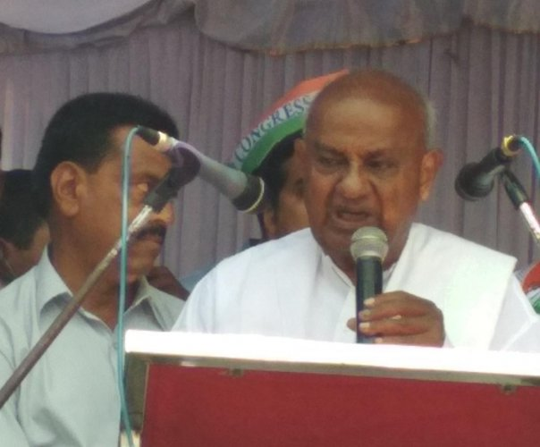 Former PM H D Devegowda speaks during an election campaign in Kadur on Thursday.