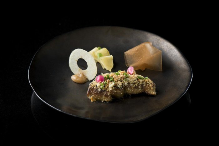 Duck liver and apple.