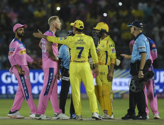 NOT DONE Chennai Super Kings captain M S Dhoni talks to the umpires over a no-ball call during the game against Rajasthan Royals in Jaipur on Thursday. PTI