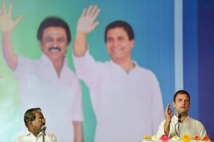 Salem: Congress President Rahul Gandhi gestures as he speaks during an election campaign, ahead of the second phase of the seven-phased Lok Sabha elections, in Salem, Friday, April 12, 2019. (PTI Photo)