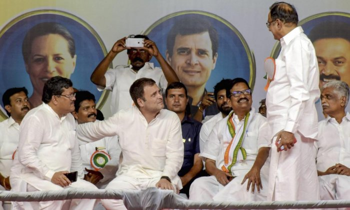 Congress President Rahul Gandhi at a public meeting during the ongoing general elections, in Madurai. PTI