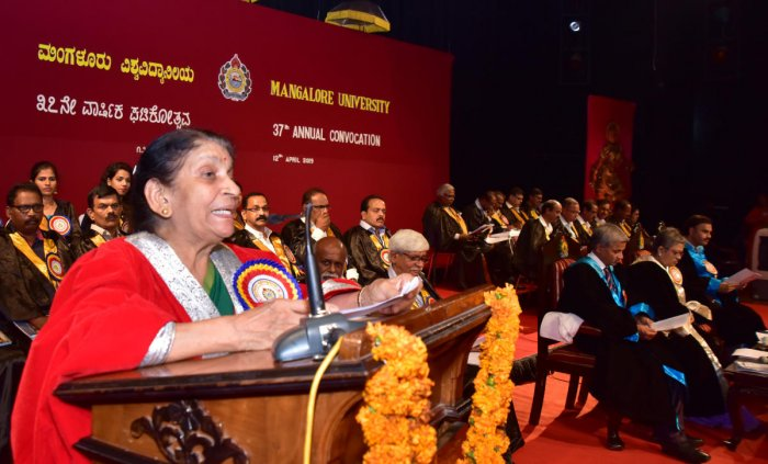 M S University, Baroda former vice chancellor and Kerala former chief secretary Padma Ramachandran delivers the 37th annual convocation address at Mangalore University, Mangalagangothri on Friday. Vice chancellor in-charge Dr Kishori Nayak, Mangalore Univ
