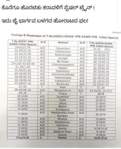 The complete schedule of Tatkal train for Lok Sabha polls.