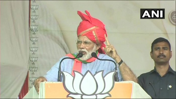 "Prime Minister Narendra Modi on Sunday slammed the Abdullahs and Muftis, saying two families ""ruined"" three generations of Jammu and Kashmir and he will not allow them to ""divide"" India. ANI photo"