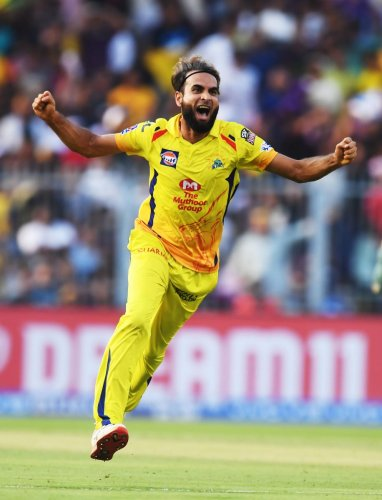 RUNNING AMOCK: Chennai Super Kings' Imran Tahir celebrates after dismissing Kolkata Knight Riders' Chris Lynn on Sunday. AFP