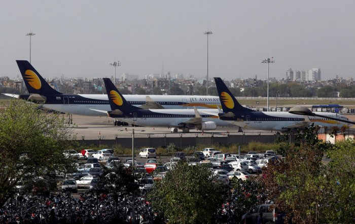 Jet Airways aircraft are seen parked at the Indira Gandhi International Airport in New Delhi. (Reuters Photo)