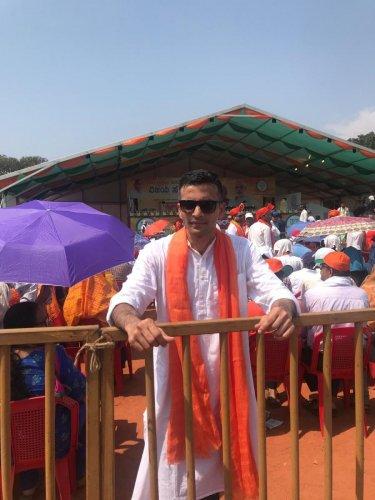 Sudheendra Hebbar during the 'Vijaya Sankalpa' rally attended by PM Narendra Modi at Nehru Maidan in Mangaluru on Saturday.