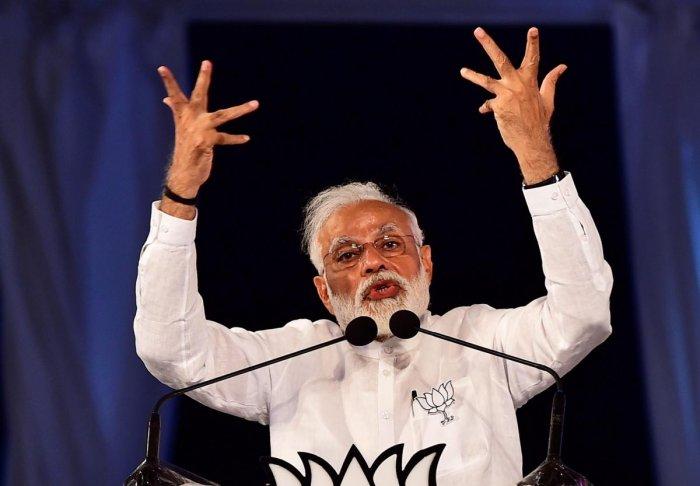 Prime Minister Narendra Modi speaks during a Vijaya Sankalap election rally ahead of the Lok Sabha Election 2019 in Bengaluru. PTI