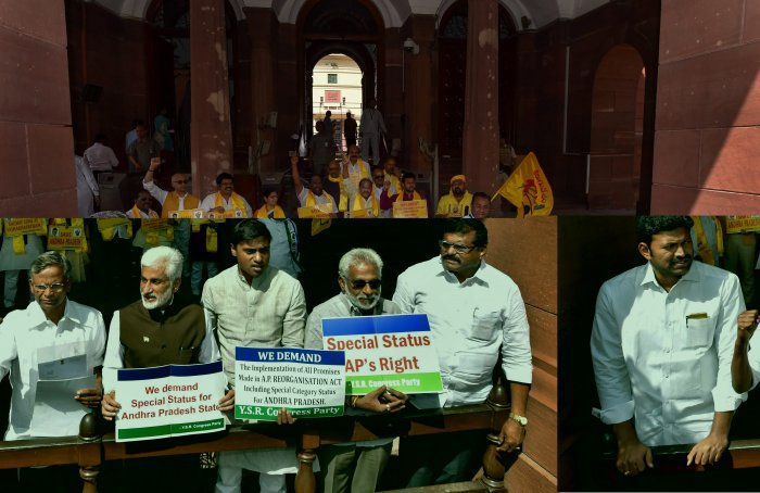 Yuvajana Shramika Rythu Congress Party (YSR) members display placards during a protest demanding special status for the state of Andhra Pradesh at Parliament House, in New Delhi. PTI file photo