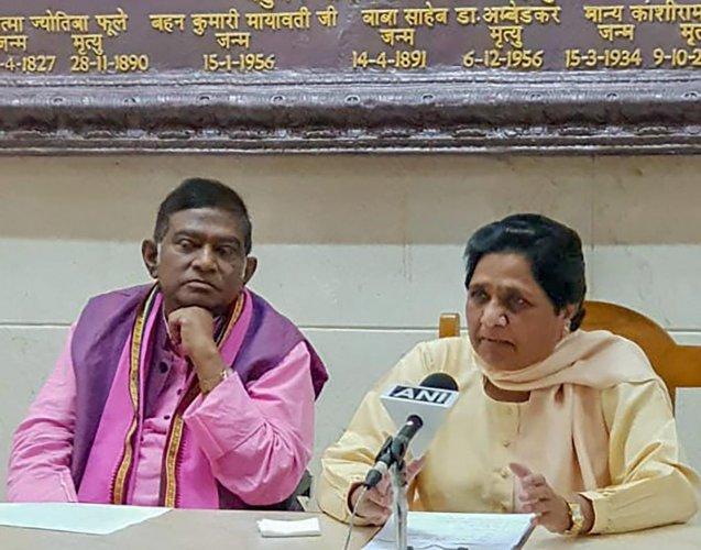 Ajit Jogi with BSP supremo Mayawati in a press conference. (PTI File Photo)