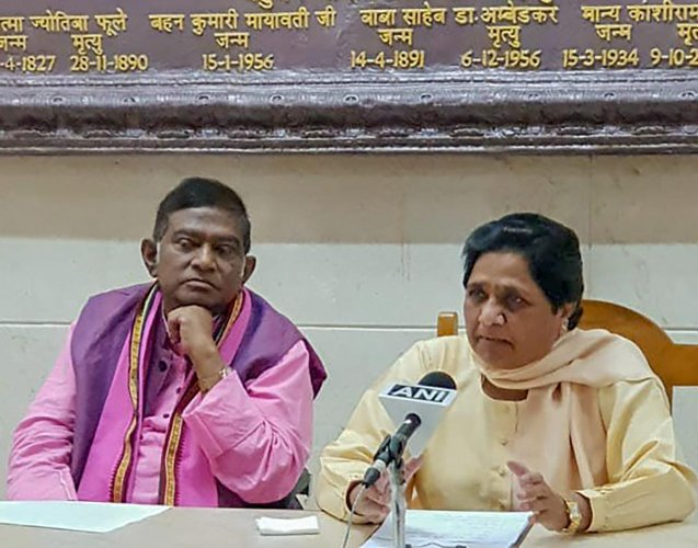 BSP supremo Mayawati and Janata Congress (Chhatisgarh) president Ajit Jogi during a press conference to annouce their alliance for assembly polls in Chhatisgarh, in Lucknow, on Thursday. PTI