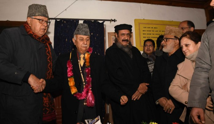 Basharat Bukhari and Peer Muhammad Hussain joined National Conference in the presence of NC president Dr Farooq Abdullah and vice president Omar Abdullah. (DH Photo)