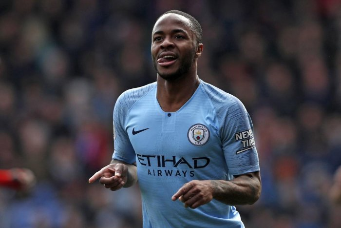 ON TARGET: Manchester City's Raheem Sterling celebrates after scoring their second goal against Crystal Palace. AFP