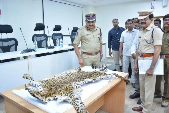 Rachakonda Commissioner of Police Mahesh Bhagavat with the leopard skin.