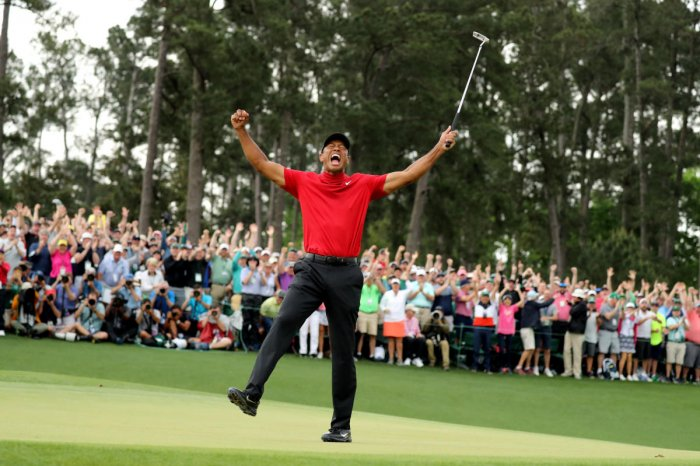 Tiger woods celebrates after winning the 2019 Masters. (Reuters)