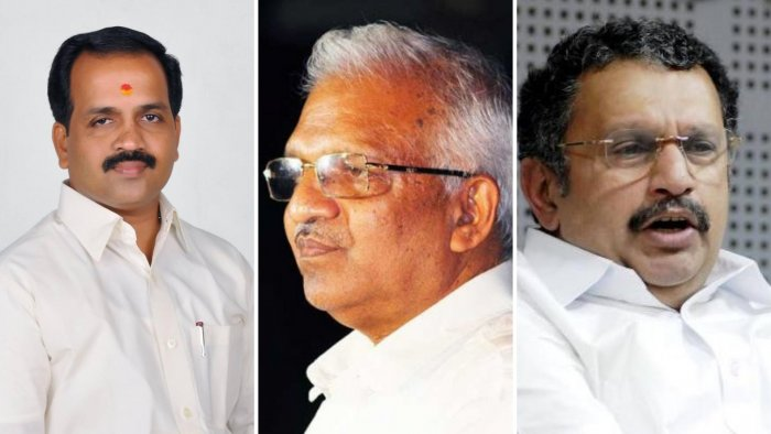 CPM's senior leader P Jayarajan (C), an accused in two political murder cases and alleged to be mastermind of political violence, is the LDF candidate. The UDF, with the intention of giving a strong political fight, fielded senior Congress leader and sitting MLA K Muraleedharan (R). V K Sajeevan (BJP) (L)