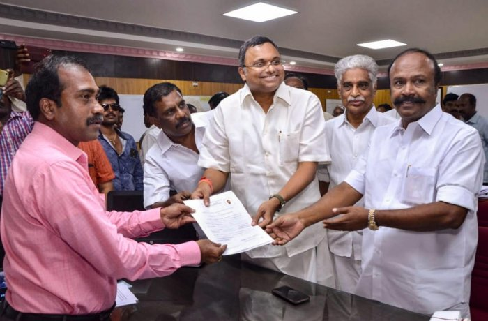 Congress candidate Karti Chidambaram files his nomination from Sivaganga constituency for the upcoming Lok Sabha elections, in Sivaganga, Monday, March 25, 2019. (PTI Photo)
