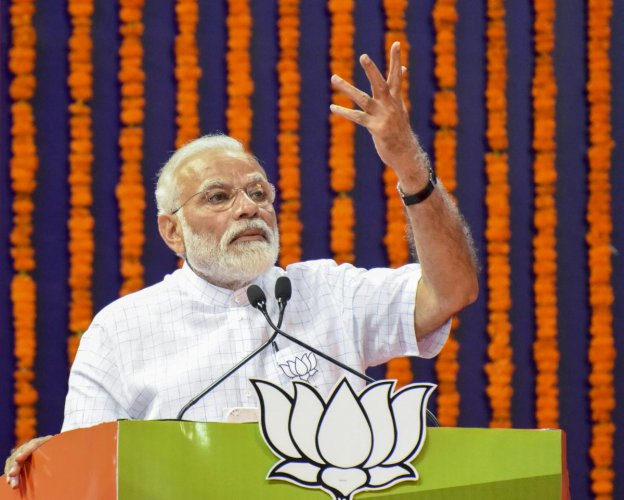 """Is this the language to be used,"" Modi said, targeting Gandhi. PTI File photo"