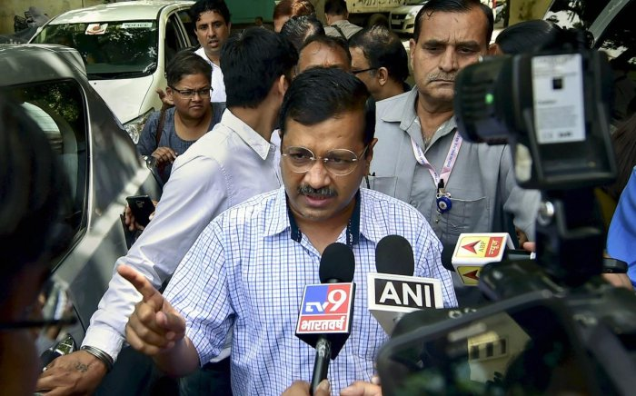 Delhi Chief Minister Arvind Kejriwal talks to the media after a meeting with opposition leaders, in New Delhi, Sunday, April 14, 2019. (PTI Photo)
