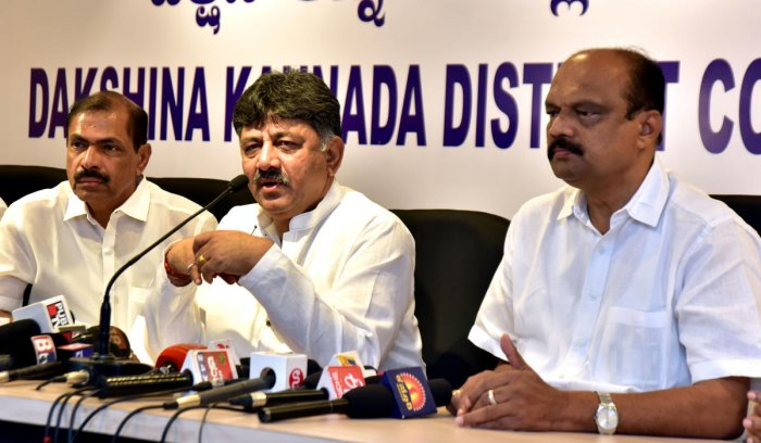 Minister for Water Resources D K Shivakumar speaks to reporters in Mangaluru on Monday.