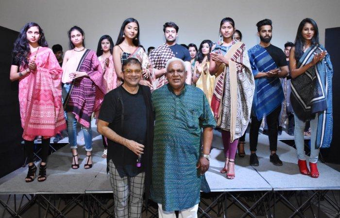 Ram Kishore Derewala (right) at the fashion show, organised by Prasad Bidapa (left), showcasing his new collection of hand-block print saris.