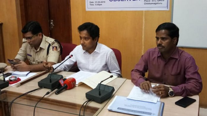 Deputy Commissioner Dr Bagadi Gautham speaks to reporters in Chikkamagaluru on Tuesday.