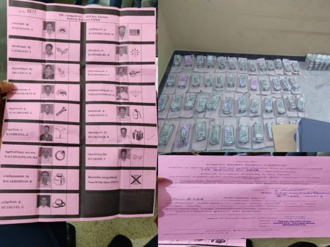 The Income Tax Department on Wednesday said it has seized Rs 1.48 crore cash allegedly stashed to bribe voters in Tamil Nadu's Theni district, where an assembly bypoll is scheduled Thursday.  DH photo