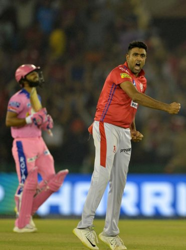 LEADING FROM THE FRONT: Kings XI Punjab's David Miller feels R Ashwin's (in pic) fine performances with both the ball and the bat has been a huge boost for the side this IPL. AFP