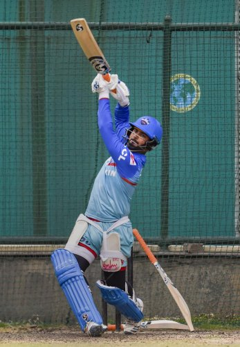 Delhi Capitals' Rishabh Pant during a training session on Wednesday. PTI