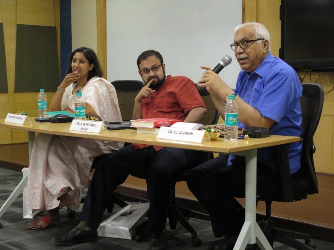 Political scientists Sarayu Natarajan, Alok Prasanna Kumar, and S Y Quraishi, former Chief Election Commissioner, discuss electoral reform at a conference in Bengaluru on Sunday.