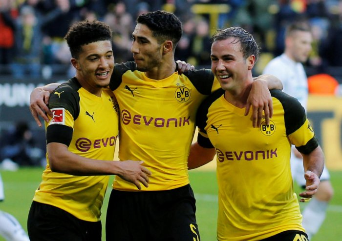 Borussia Dortmund's Jadon Sancho (left) will look to continue his brilliant form whey they take on Tottenham Hotspur in Wembley on Wednesday. Reuters