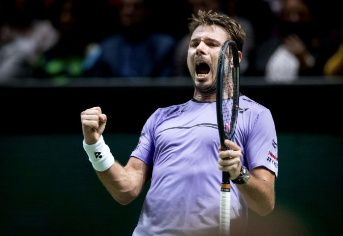 ON SONG: Switzerland's Stan Wawrinka celebrates his quarterfinal win over Denis Shapovalov on Friday. AFP