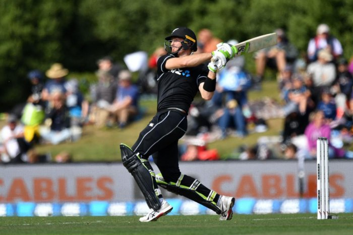 FETCH THAT!: New Zealand's Martin Guptill pulls one to the boundary during his match-winning century against Bangladesh on Saturday. AFP