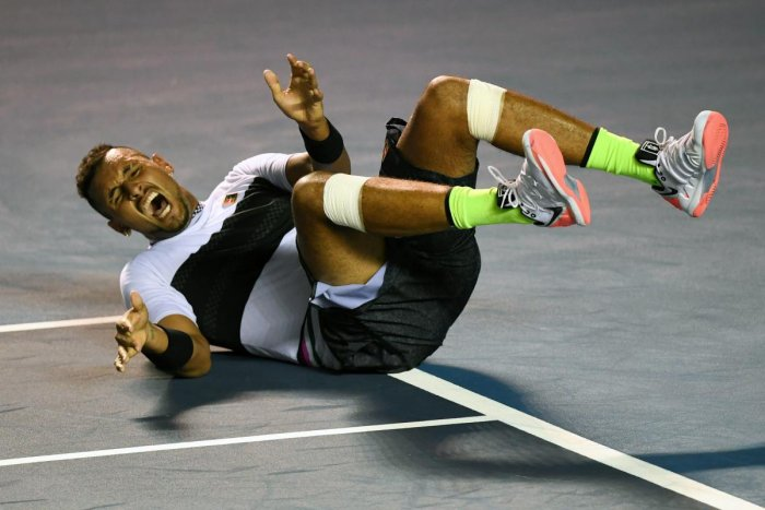 Nick Kyrgios celebrates his victory over Rafael Nadal in Acapulco, Mexico, on Wednesday. AFP