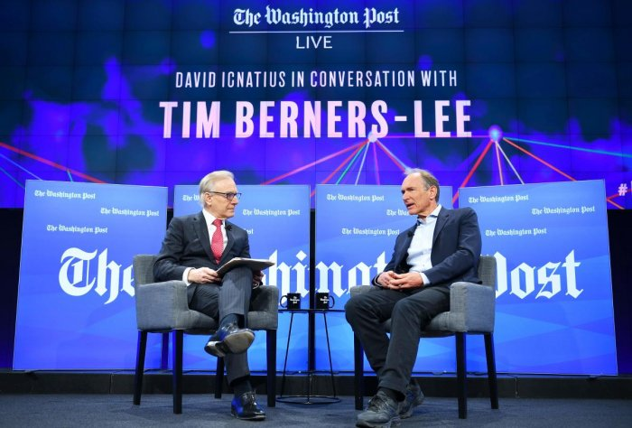 Washington Post columnist David Ignatius (L) listens during an interview with Tim Berners-Lee, the inventor of the World Wide Web, at the Washington Post in Washington, DC on March 5, 2019. (Photo by MANDEL NGAN / AFP)