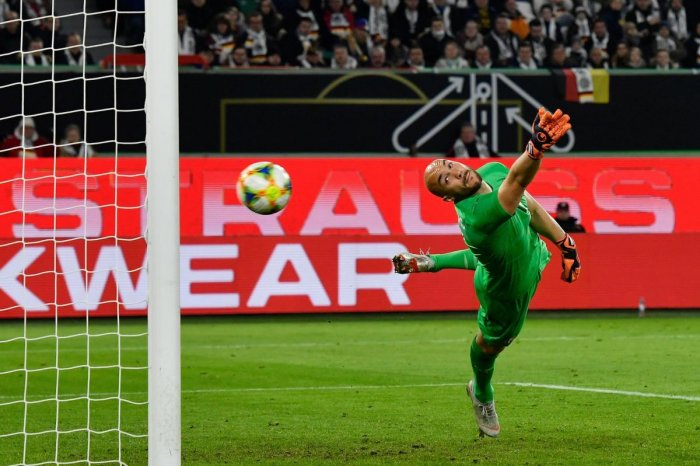 UNSTOPPABLE: Serbia's goalkeeper Marko Dmitrovic watches in vain as Germany's Leon Goretzka's shot soars into the goal during their friendly on Wednesday. AFP
