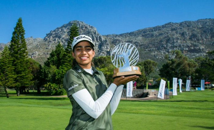 Diksha Dagar with the South Africa Women's Open trophy. Pic: LET website