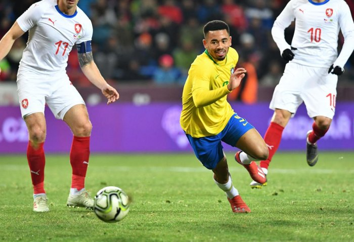Brazil's Gabriel Jesus runs after the ball during the friendly football match between the Czech Republic and Brazil at the Sinobo Arena in Prague, Czech Republic on March 26, 2019. AFP Photo