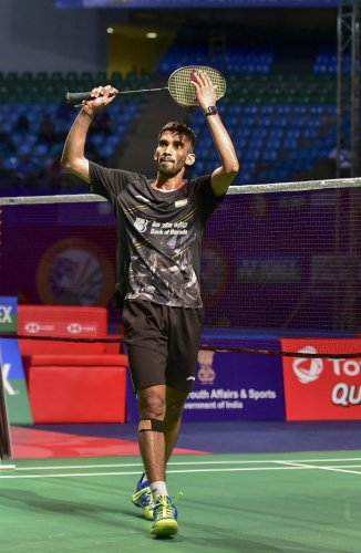 Kidambi Srikanth celebrates after defeating Hong Kong's Vincent Wong Wing Ki. PTI