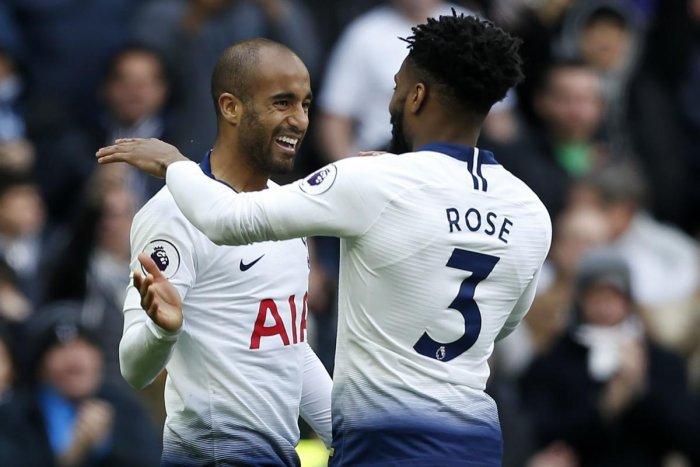 Lucas (left) celebrates his third goal on Saturday.